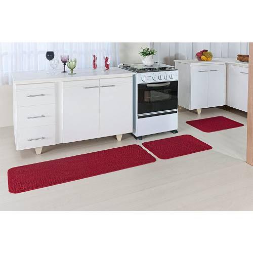 Kit Tapete de Cozinha Vermelho e Banheiro Preto Relevo