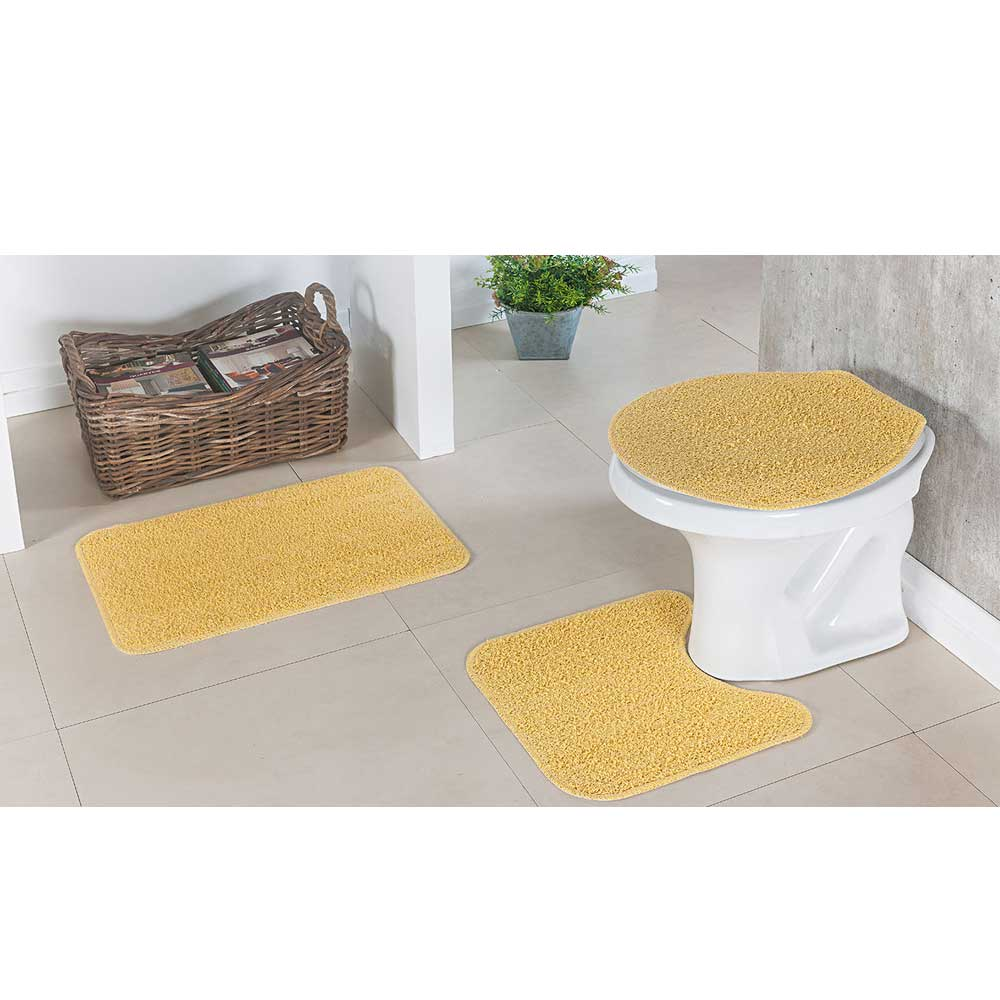 Kit Tapete Para Cozinha e Banheiro Amarelo 6 Peças Natura 100%Algodão