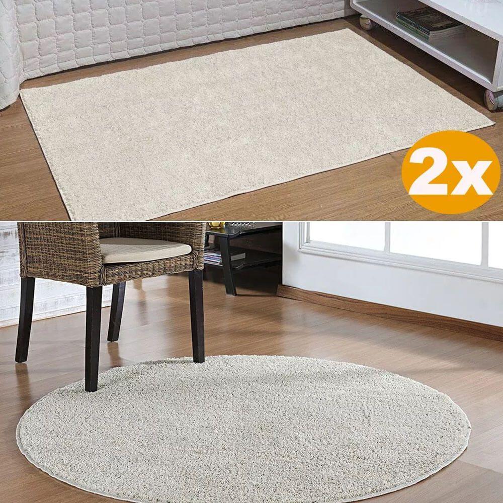 Kit Tapetes 2 Passadeiras 50 x 100 E 1 Redondo 100 cm Classic Creme Perola Oasis