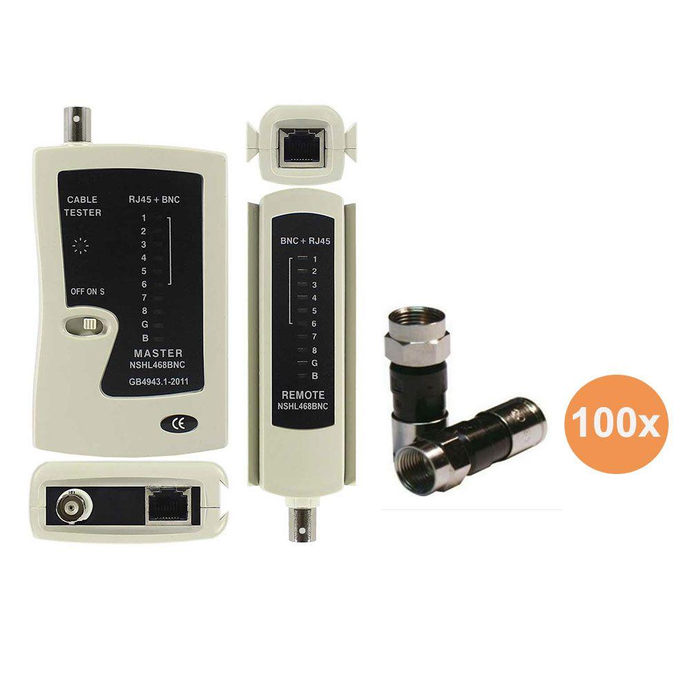 Kit Testador de Cabos Rede Lan BNC RJ45 RJ11 e 100 RG6