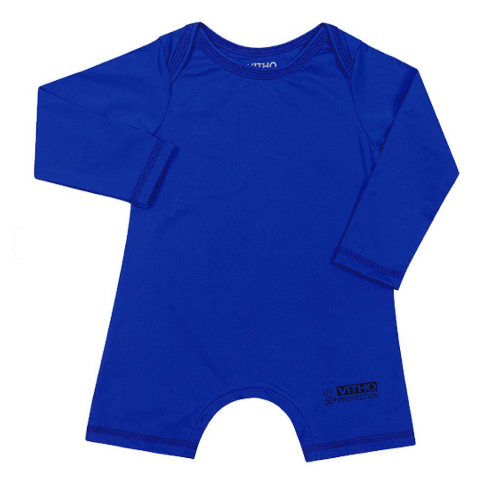 Macacão Bebê com Proteção Solar UV 50+ Manga Longa Azul Aquarela Vitho