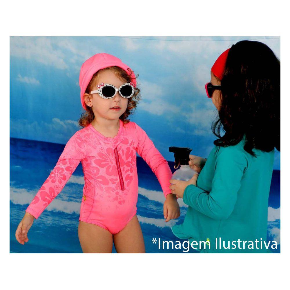 Maiô Infantil Com Proteção Solar UV 50+ Zíper Manga Longa Estampa Mágica Laranja Vitho