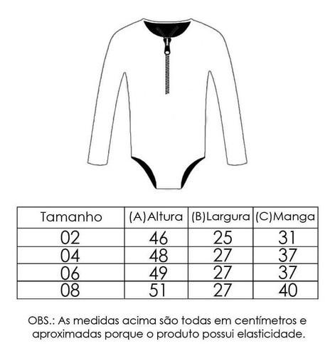 Maiô Infantil Com Proteção Solar UV 50+ Zíper Manga Longa Estampa Mágica Rosa Vitho