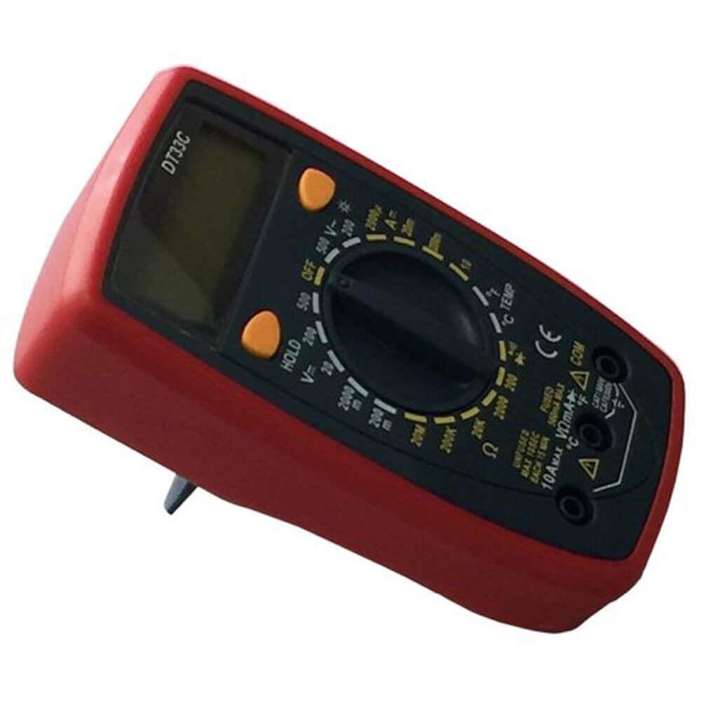 Multimetro Digital DT33C Medidor Tensão AC DC Corrente AC DC Resistência Diodo Temperatura Polaridade