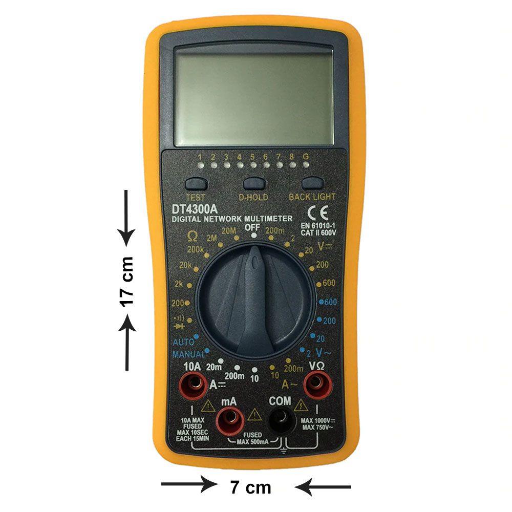 Multimetro Digital DT 4300A Testador de Cabos RJ45 RJ11 RJ12 USB Visor LCD GC