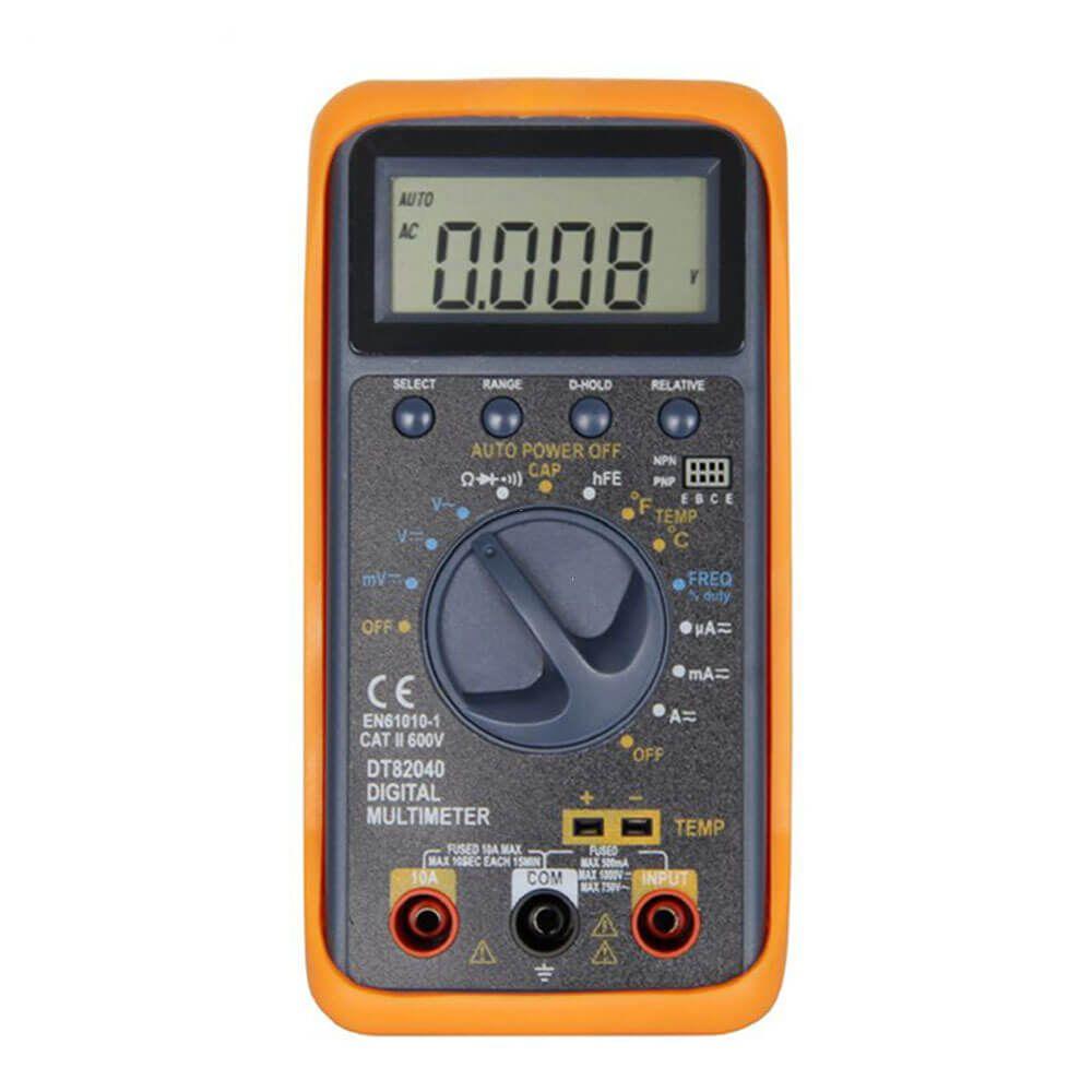Multimetro Digital Medição de Temperatura e Eletrica DT 82040 LCD AC DC Diodo HFE Polaridade GC