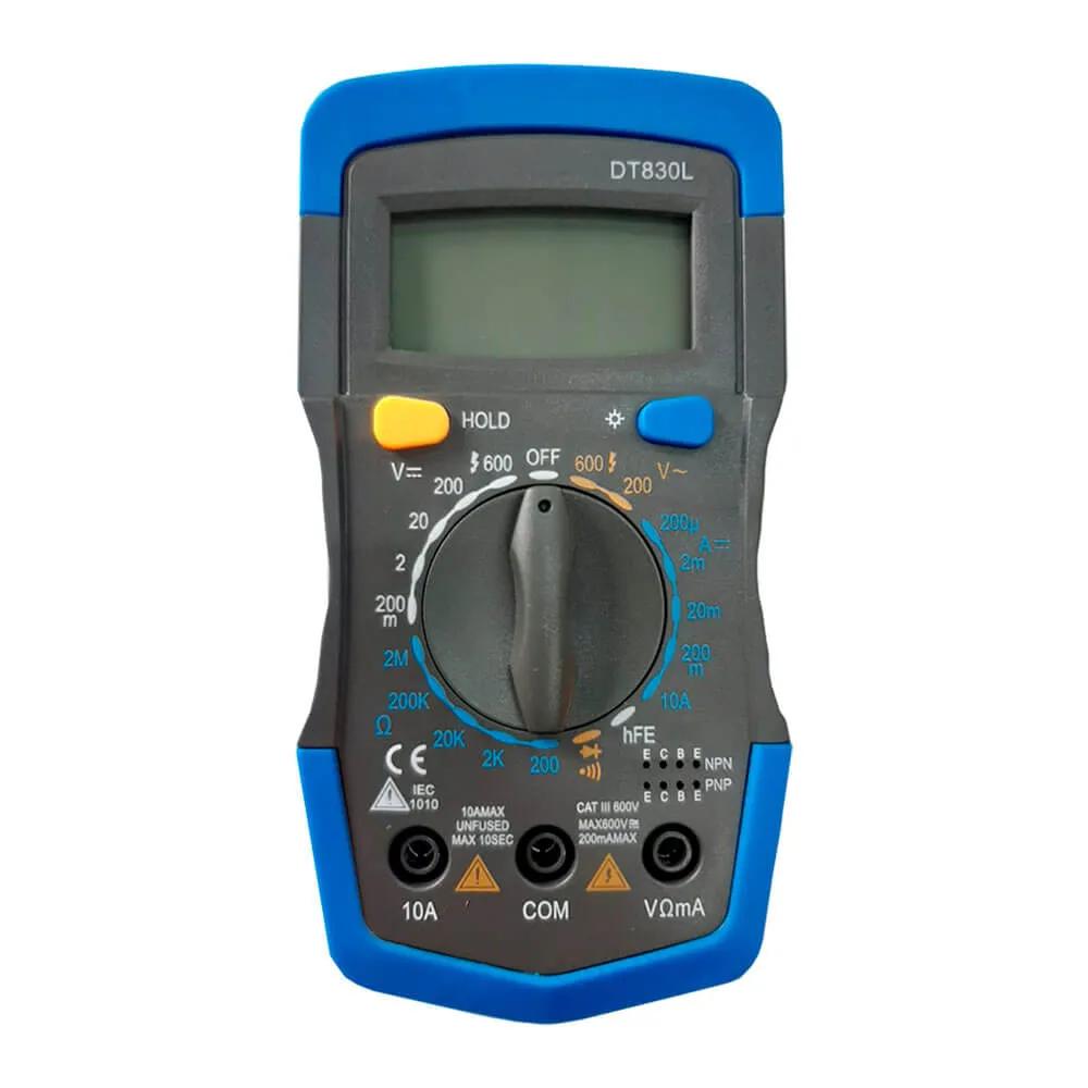 Multimetro Digital DTG 830 L Visor LCD DCV ACV DCA HFE OHM DC Teste Diodo GC