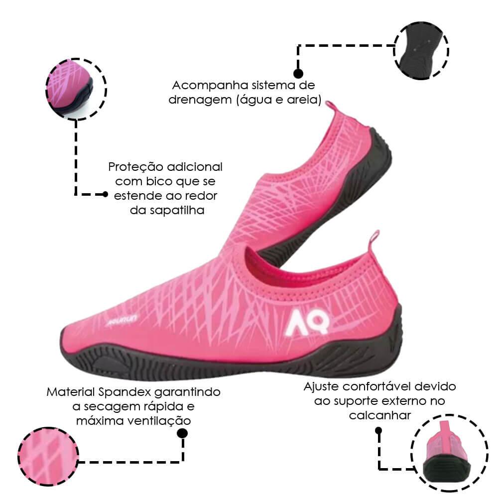 Sapatilha Esportiva Aquática Multiesportivos Rosa Aqurun 35 á 39