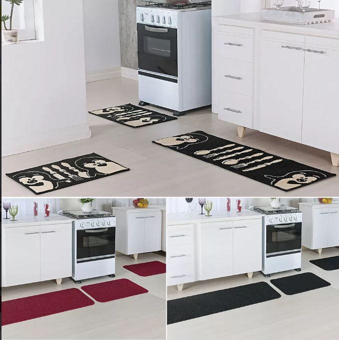 Tapete Cozinha Relevo Preto Vermelho E Madrid Pinguim 9 Peças