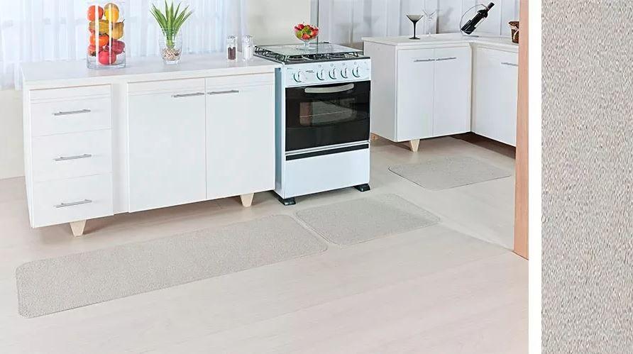 Tapete De Cozinha Natura Kit 3 Peças Algodão Areia Oasis