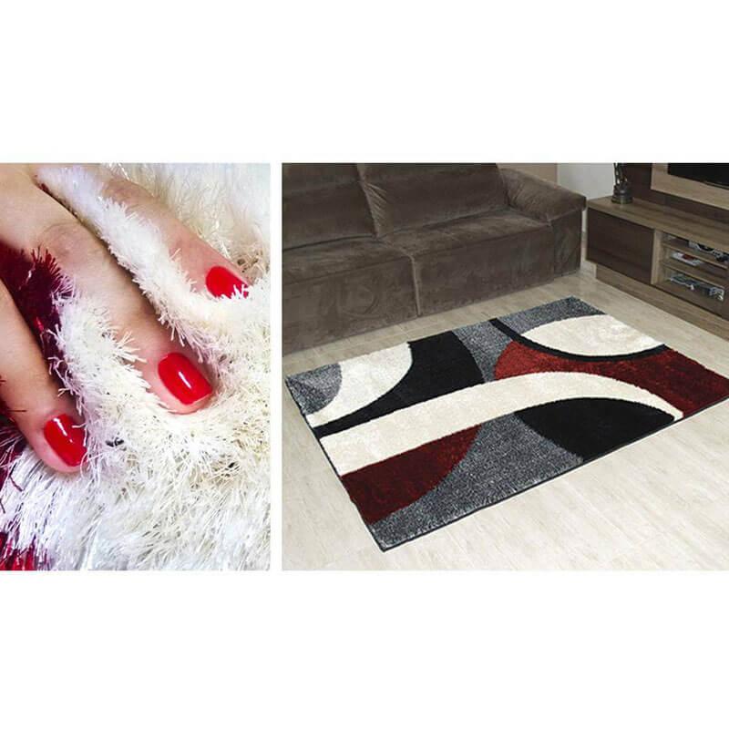 Tapete De Sala Shaggy Anti-Derrapante Gana 200 X 150 Vermelho