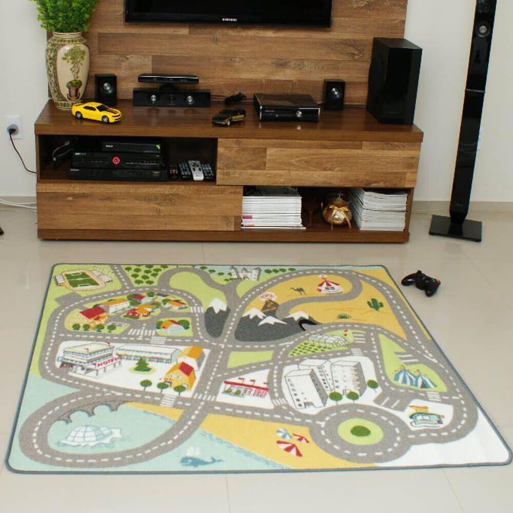 Tapete Mixed Pistinha Infantil Quarto Sala 133 x 140 cm Rayza