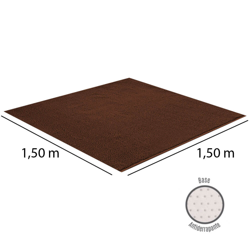 Tapete Para Sala 1,50 x 1,50 m Classic Marrom Castor Oasis