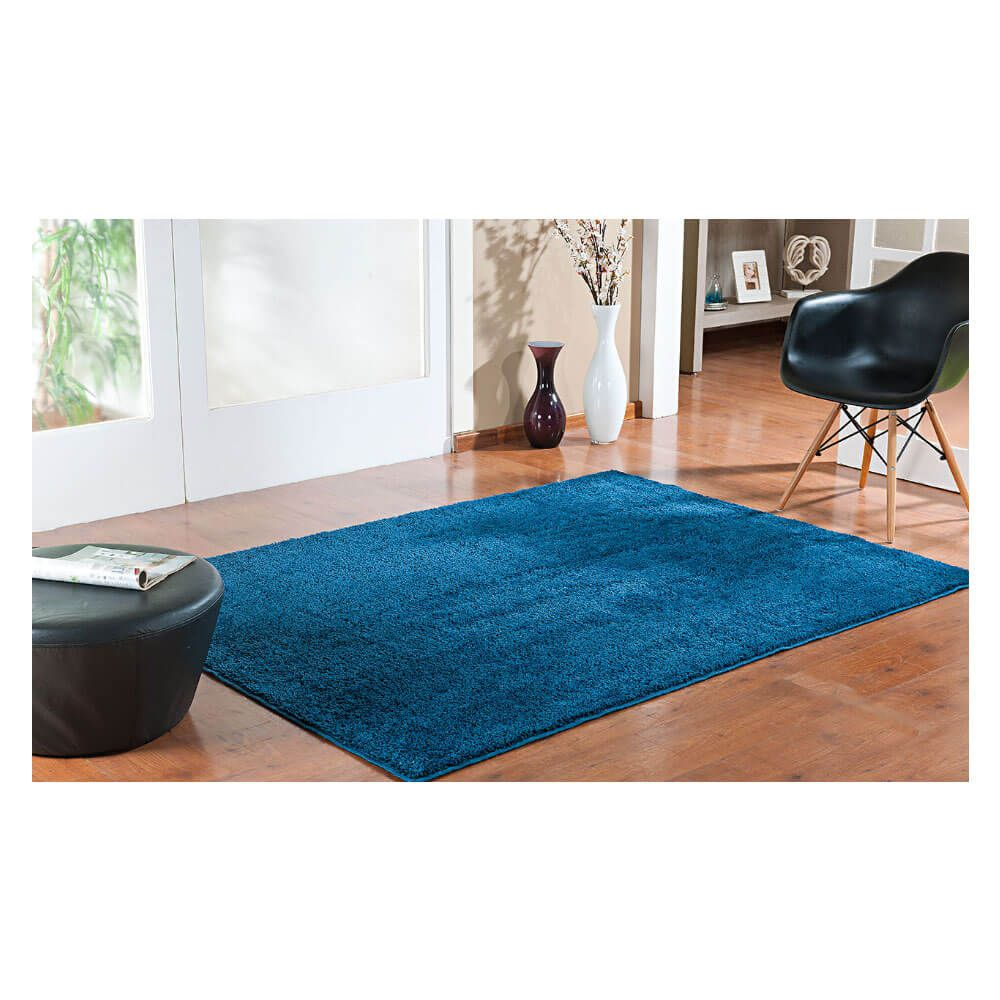 Tapete para Sala Peludo Classic 1,00 x 1,50 m Azul Jeans Oasis