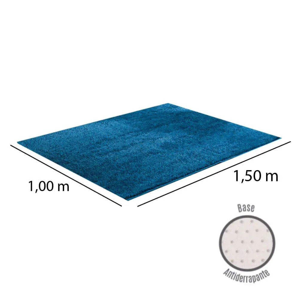 Tapete para Sala Peludo Classic 1,00 x 1,50 m Azul Jeans Oasis
