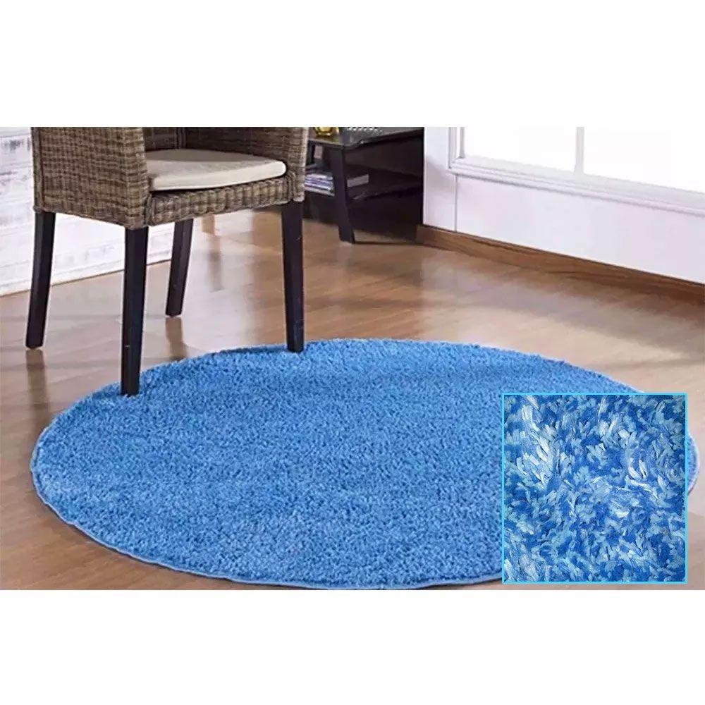 Tapete Redondo Coleção Classic Teen 100 X 100 Azul Mescla