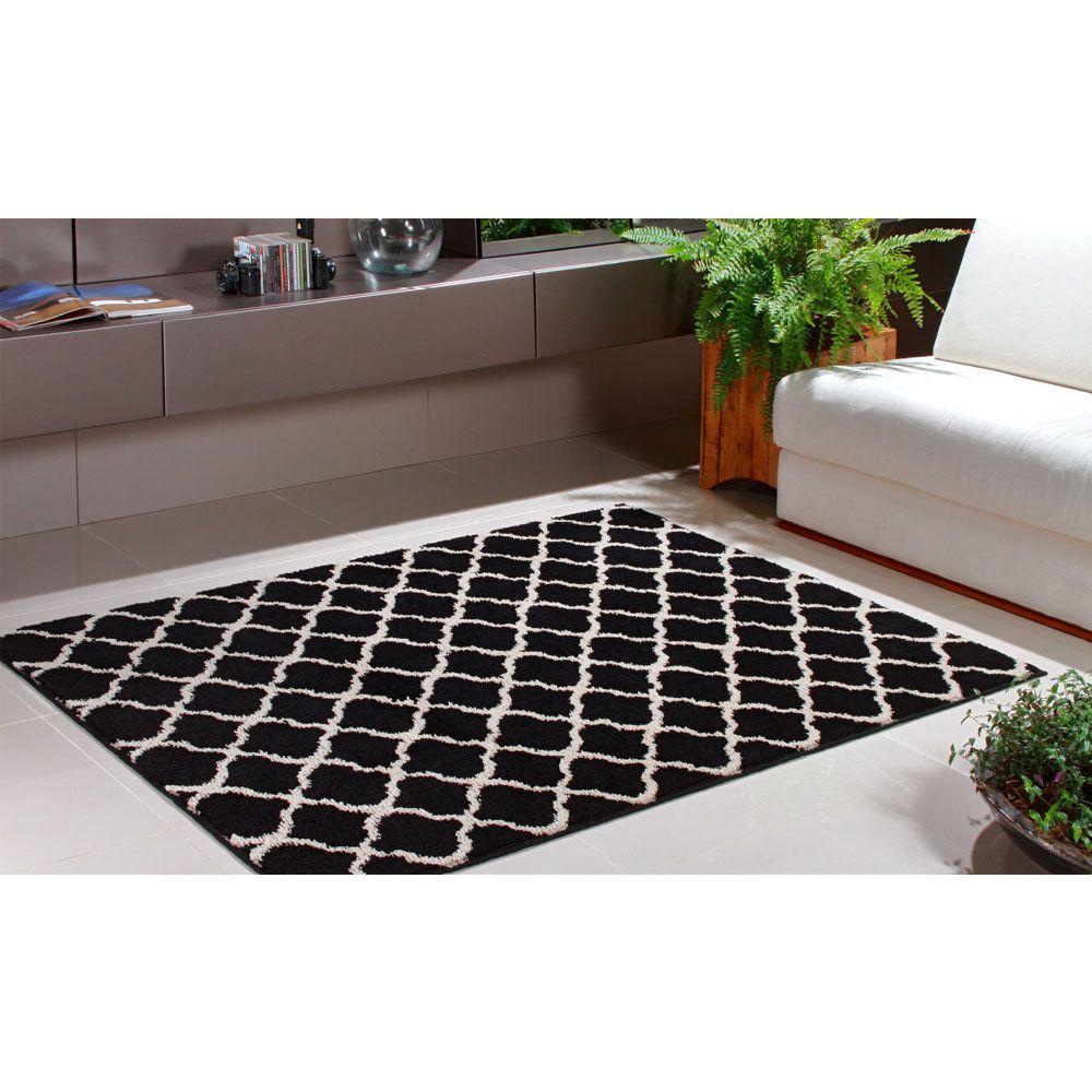 Tapete Sala Estampado 100 x 150 Art Black e White Desenho 03 Oasis