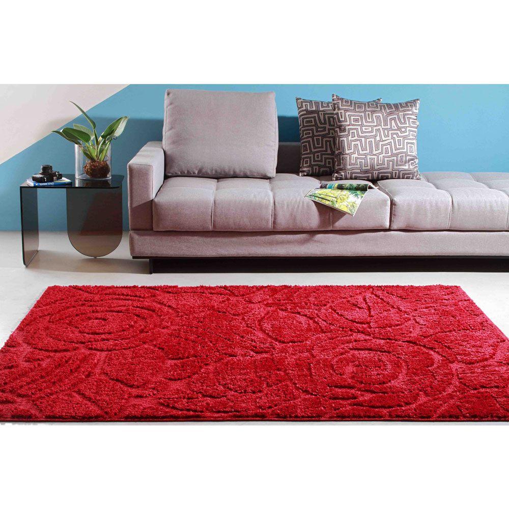 Tapete Sala Jazz 150 x 200 cm Alto e Baixo Relevo 05 Vermelho
