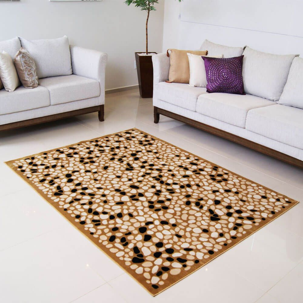 Tapete Para Sala Veludo Marbella Moderno Pedras 3 Rayza 200 x 250 cm