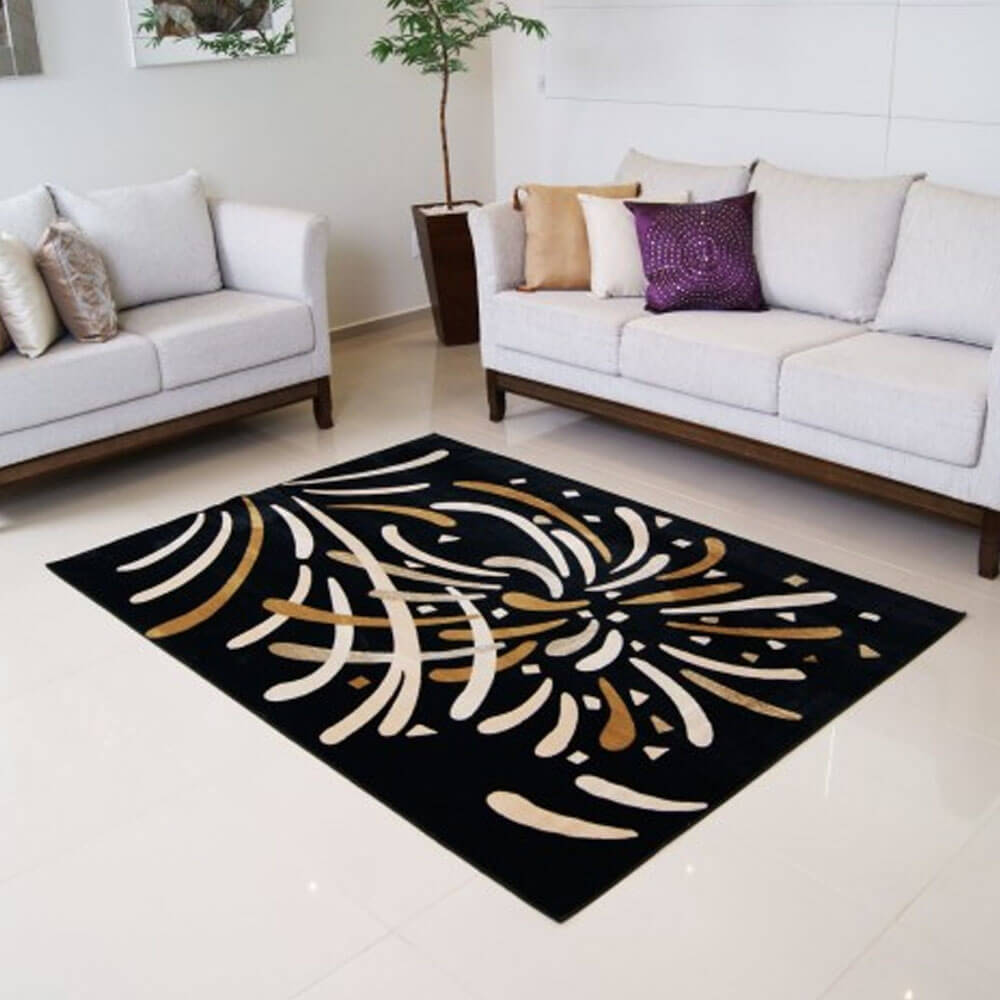 Tapete Para Sala 200 x 250 cm Veludo Preto Marbella Moderno Reveillon