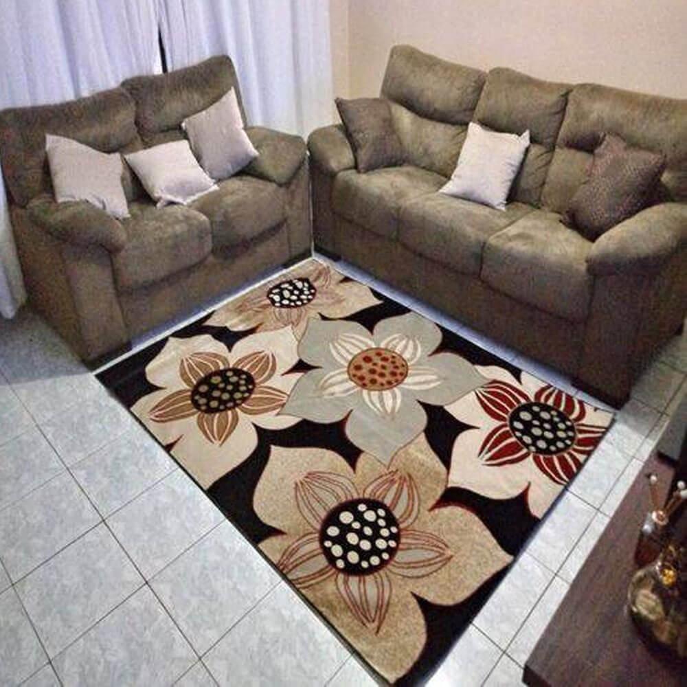 Tapete Veludo para Sala 100 X 150 cm Benin Preto Rayza