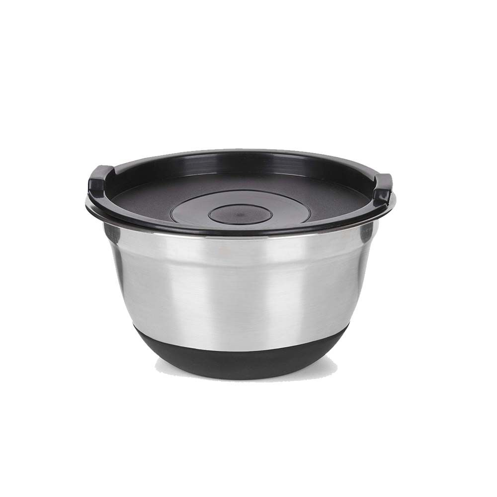Tigela Bowl 17 cm Diâmetro Antiderrapante com Tampa Inox