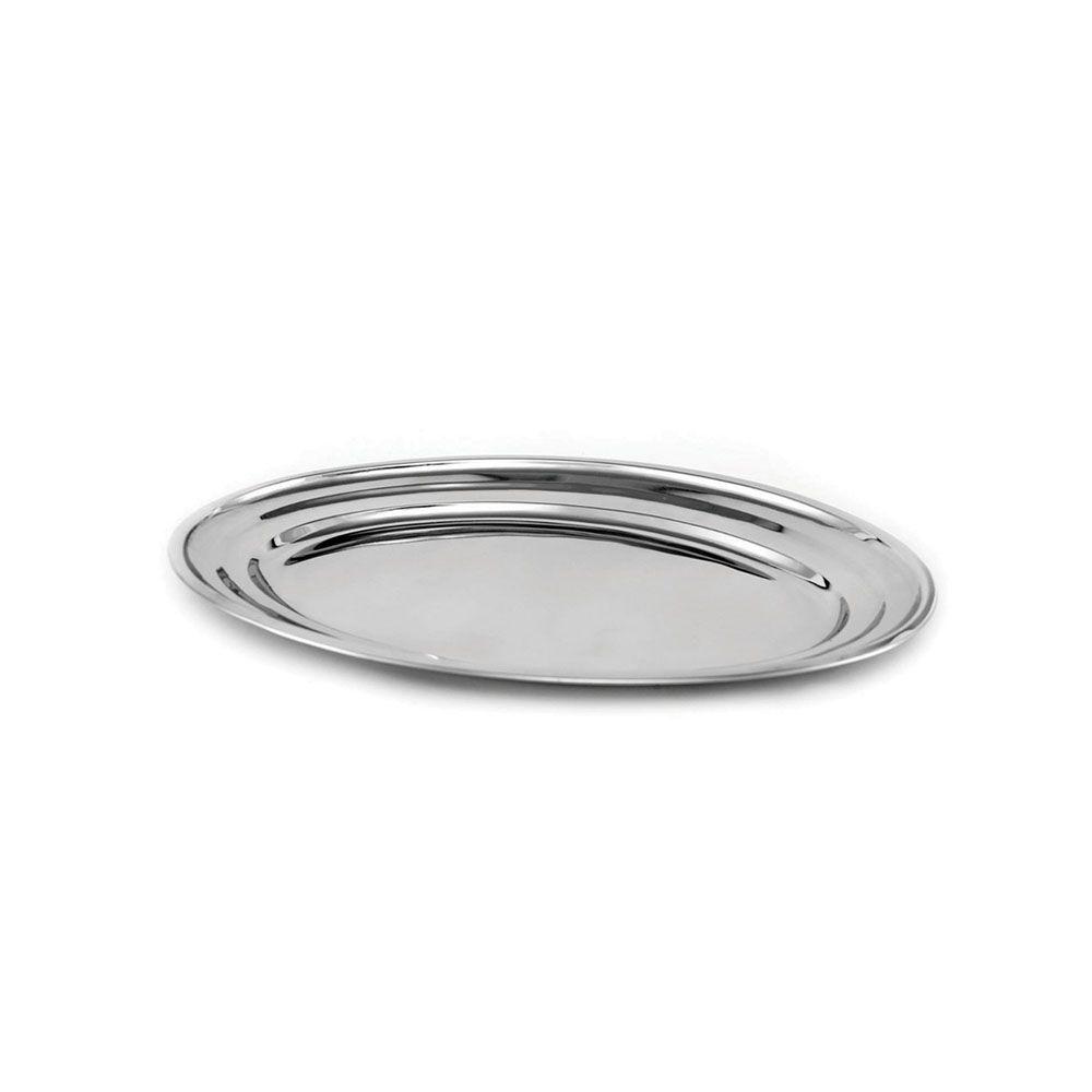 Travessa Oval Plana Aço Inox 25 cm Attuale