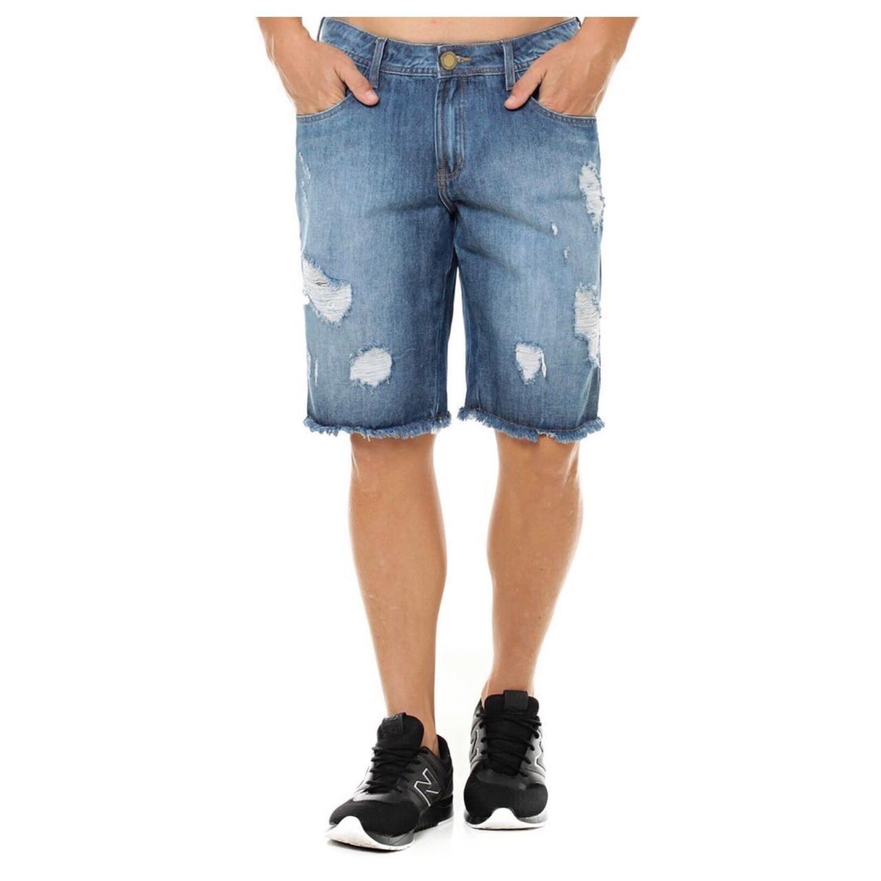 5953f400f Bermuda Jeans Masculina Rasgada Eventual Middle Destroyed Eventual ...