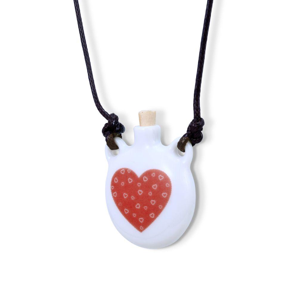 Colar Aromático ou Porta  Perfume Coração com Corações