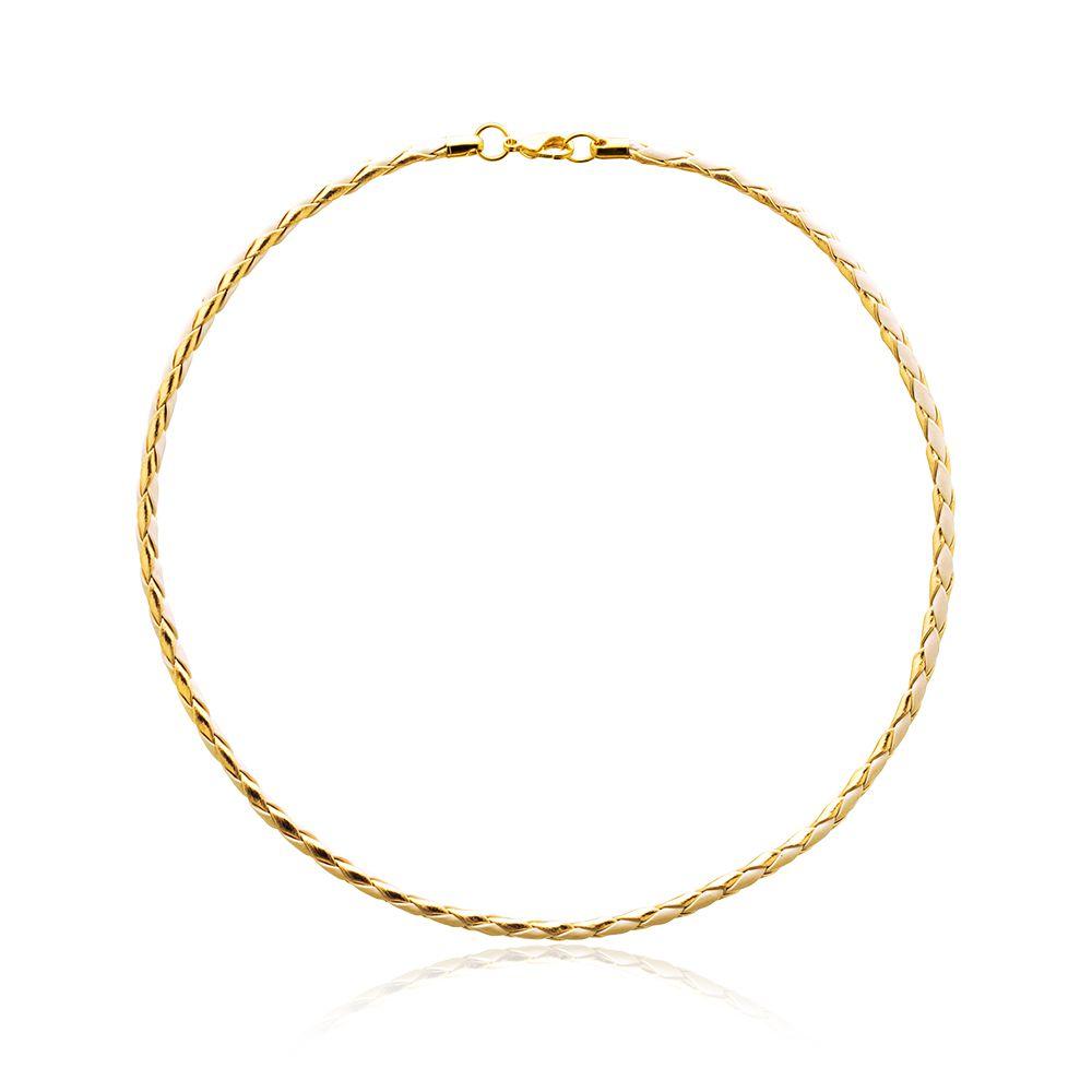 Corrente Trançada Sintética Bege e  Dourada  com fecho banhado ouro