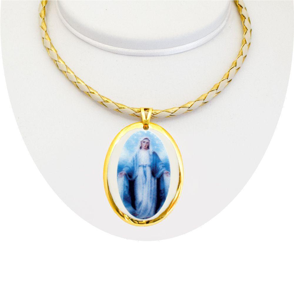 bc101dc0a90dc Medalha Nossa Senhora Das Graças Ouro Peq E Corrente