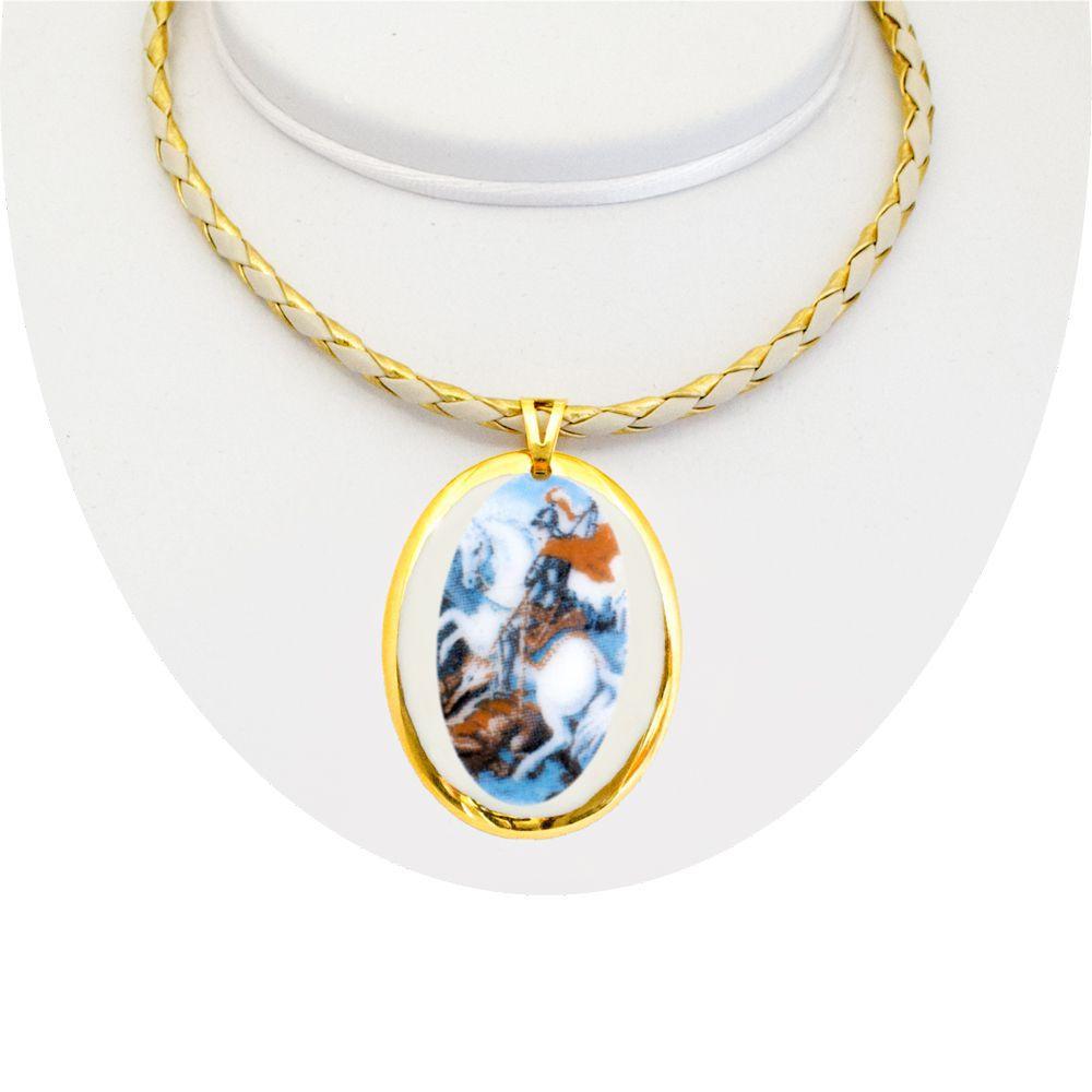 6505984b6a81a Medalha São Jorge Ouro Peq E Corrente Design Medalhas
