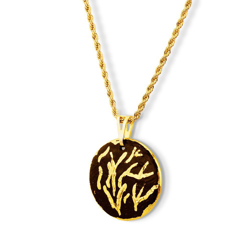 Pingente Black Gold Radiant detalhes Ouro 18k