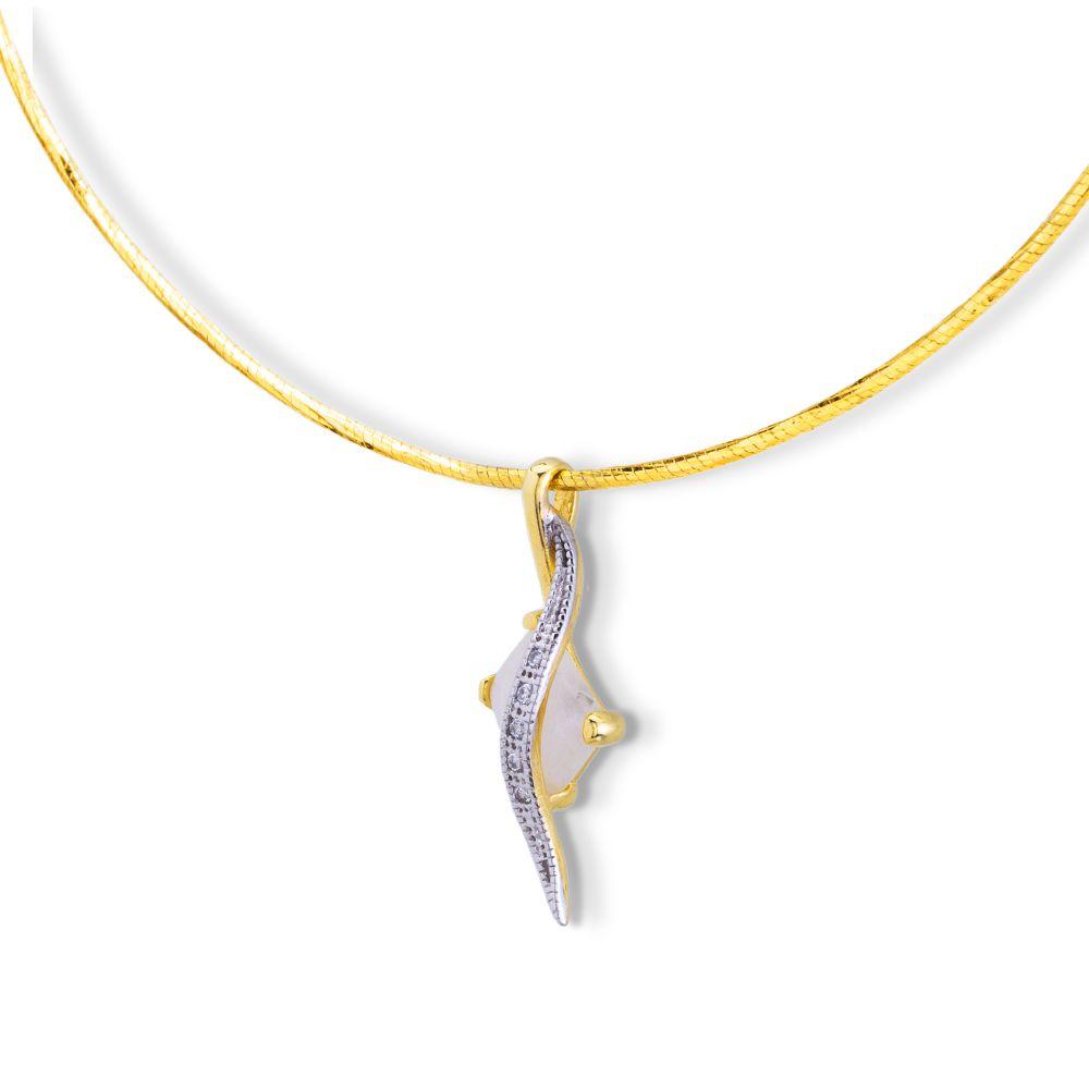 Pingente com Cristal de Quartzo rosa e zirconias banhado ouro 18k