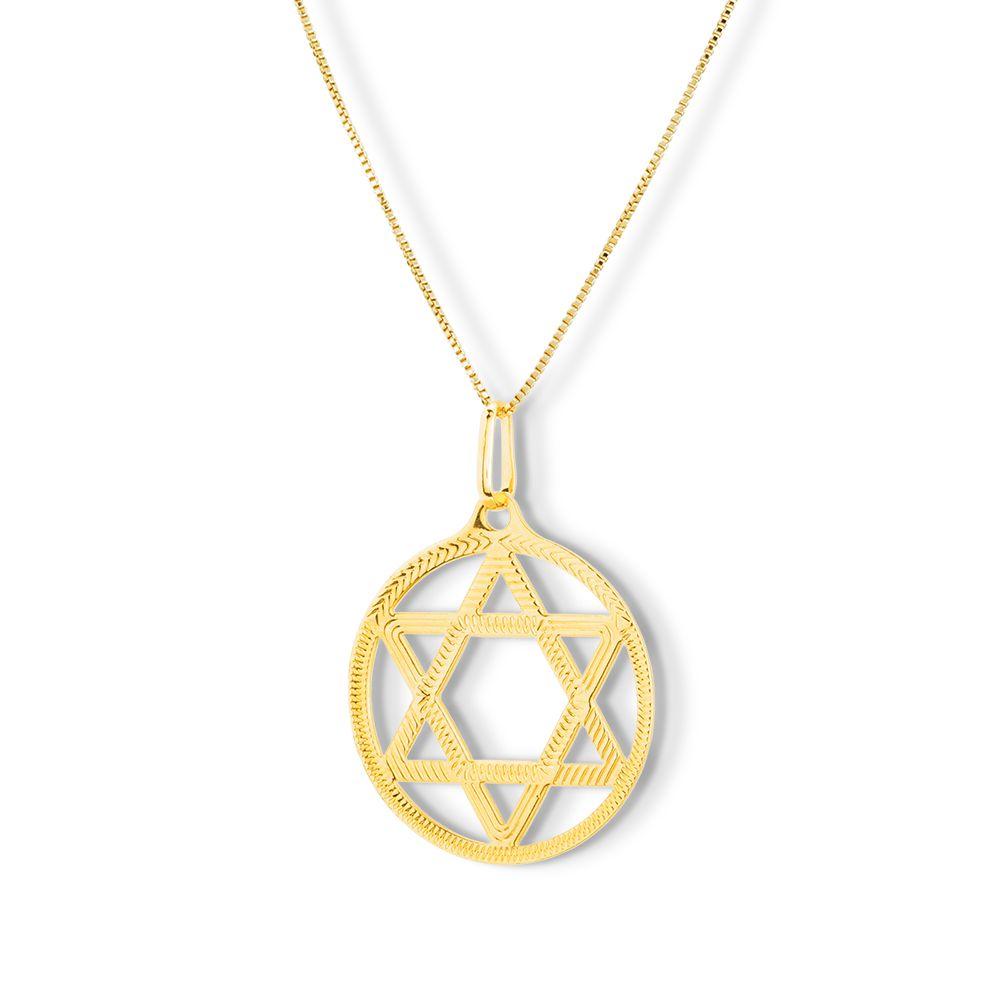 Pingente Estrela de Davi em semijoia banhado ouro 18k