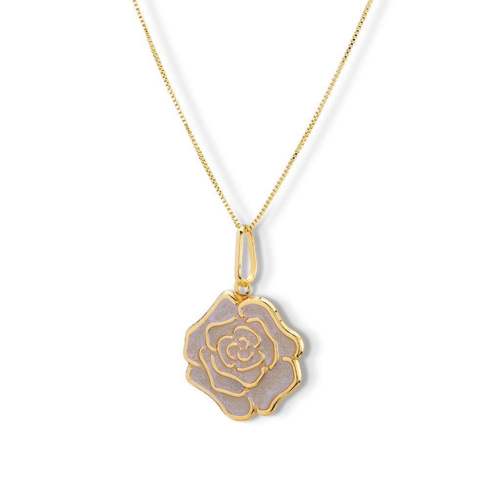 Pingente Flor Rosa com resina semijoia banhado ouro 18k
