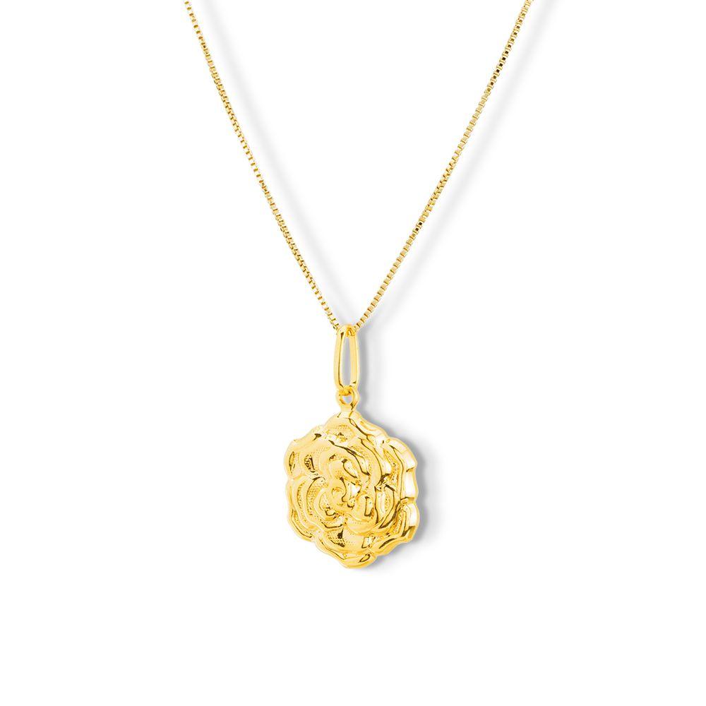 Pingente Flor Rosa semijoia banhado ouro 18k