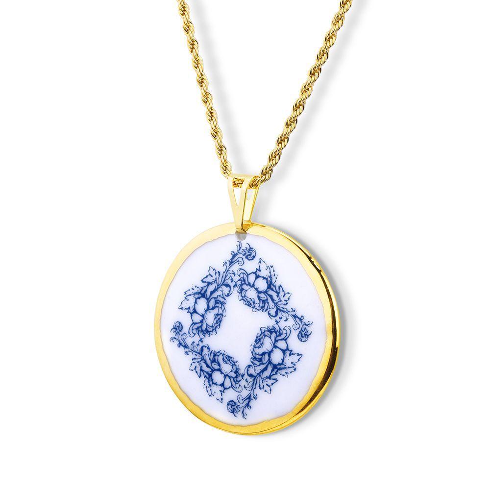 Pingente Mandala Blue  ouro 18k