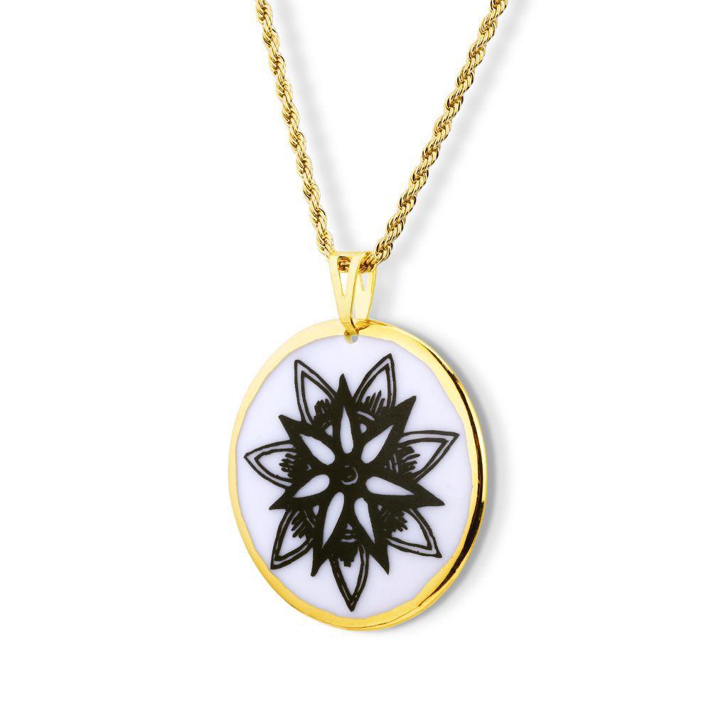 Pingente Mandala Flor de Lótus  ouro 18k