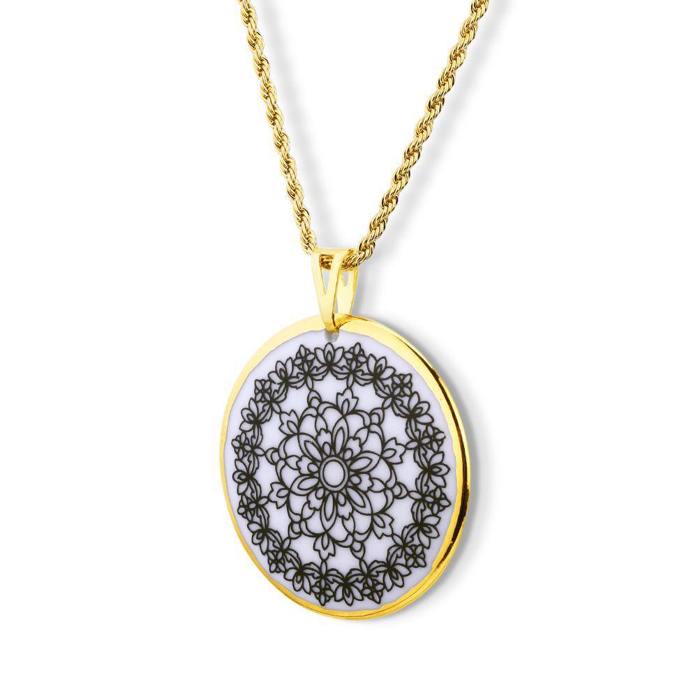Pingente Mandala  Flores ouro 18k