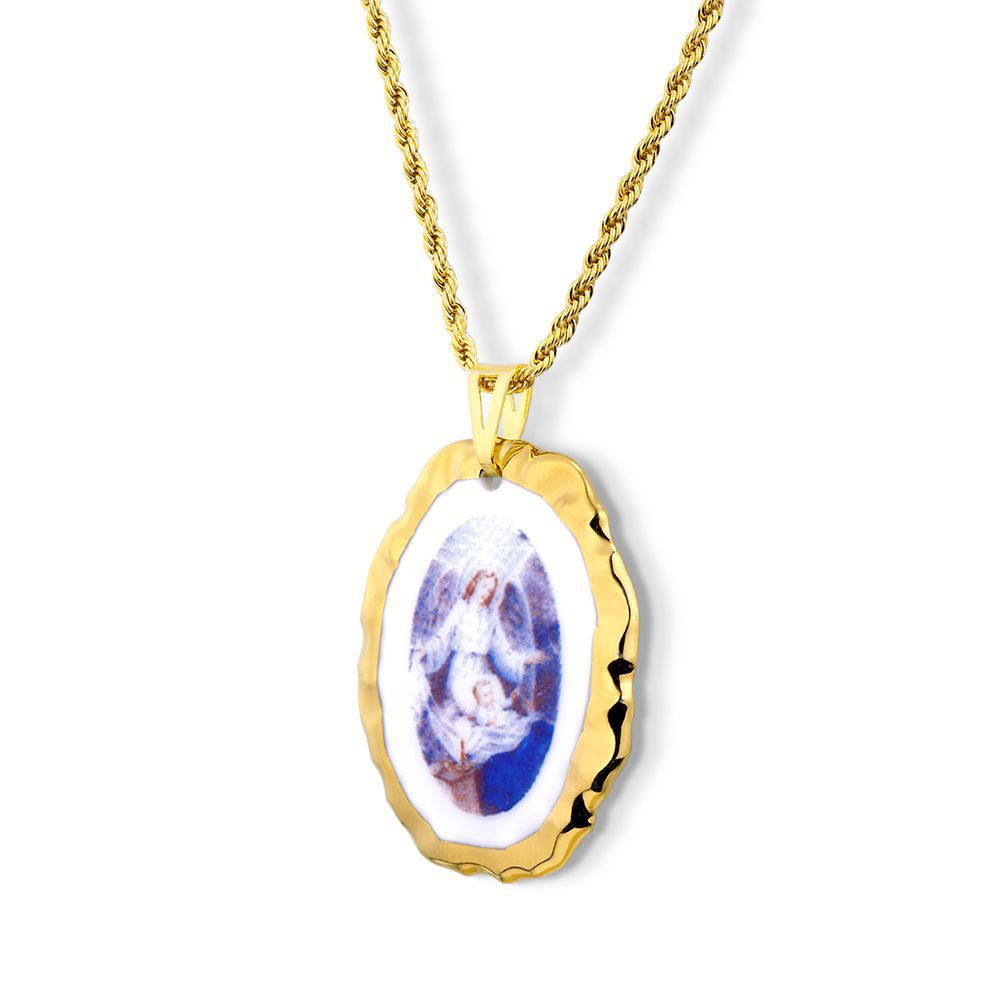 Pingente Medalha Anjo Da Guarda azul Ouro