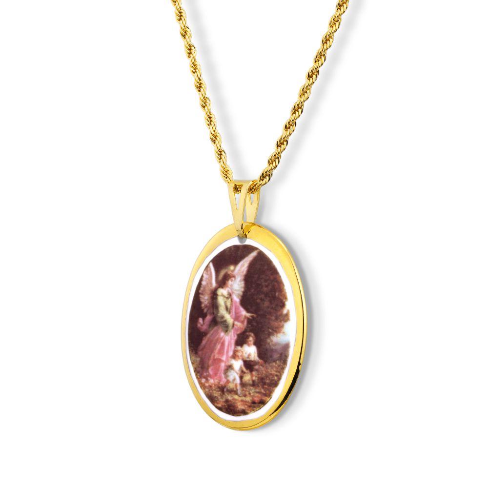 Pingente Medalha Anjo Da Guarda Ouro
