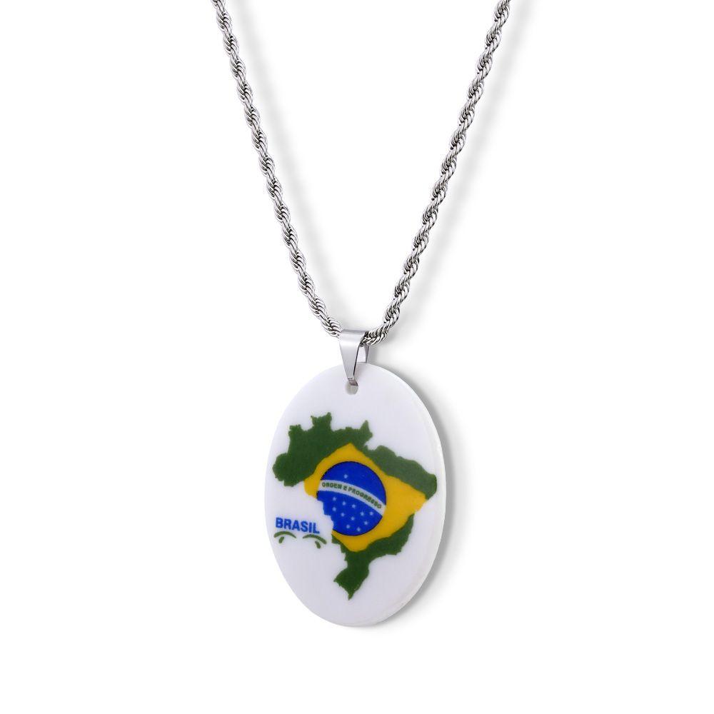 Pingente Medalha Bandeira do Brasil