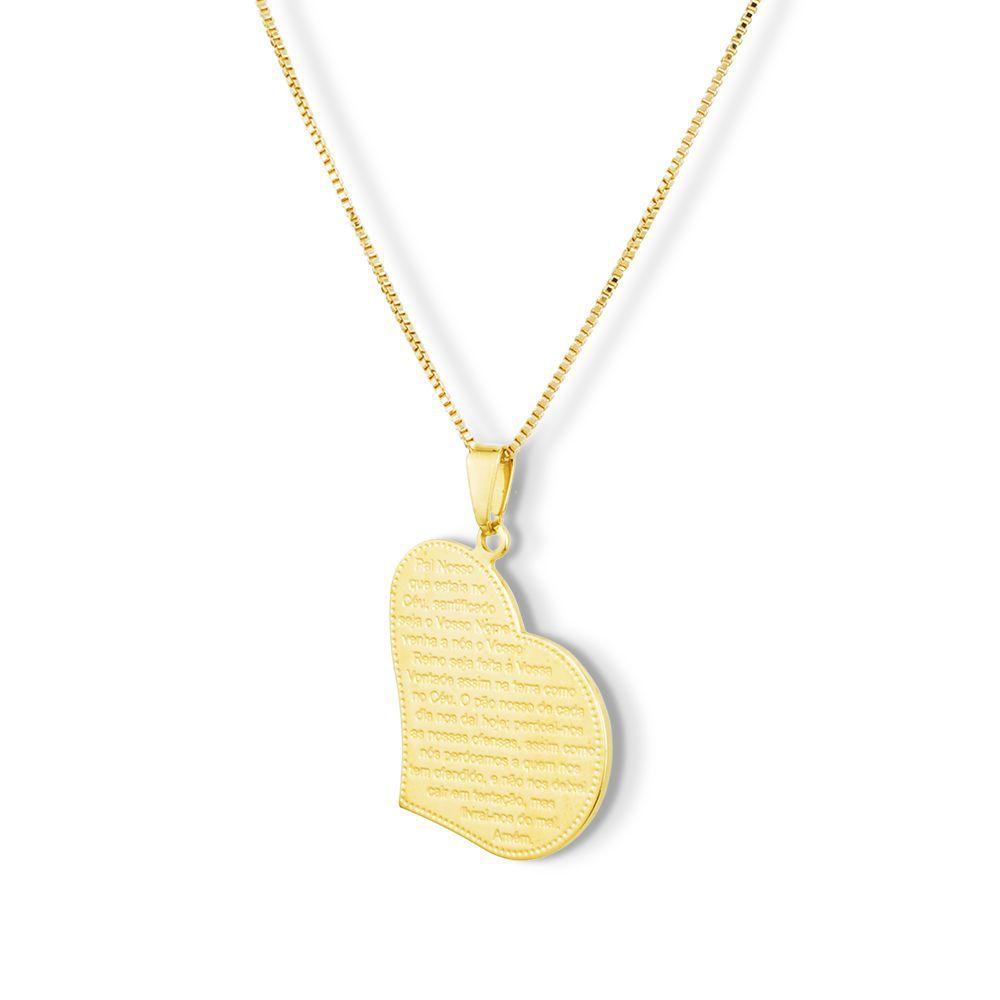 Pingente Medalha com oração do Pai Nosso Banhado com ouro 18k em formato de coração