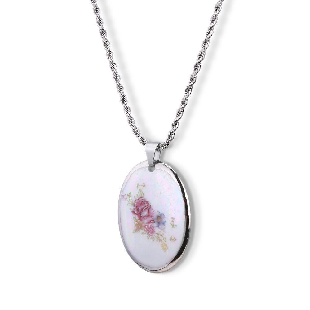 Pingente Medalha com Rosas e borda pintada à mão em ouro branco 18k