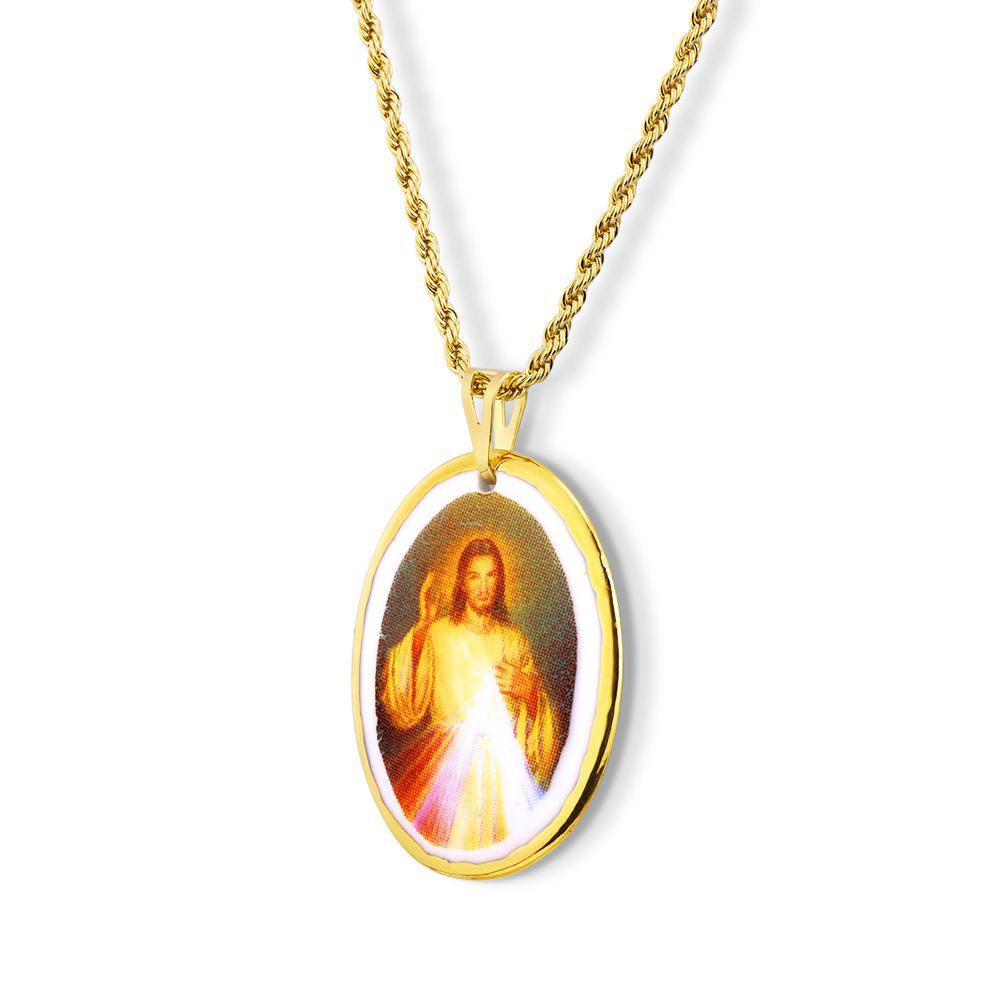 Pingente Medalha De Jesus Misericordioso Ouro