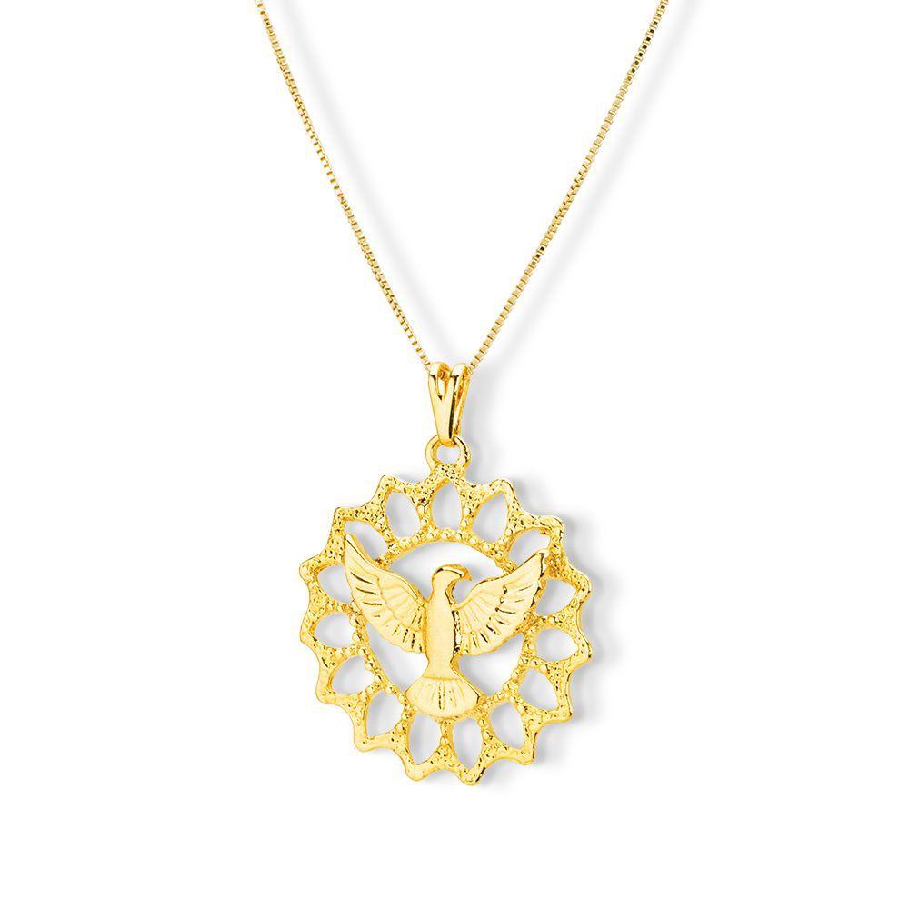Pingente Medalha Espiríto Santo Banhado com ouro 18k