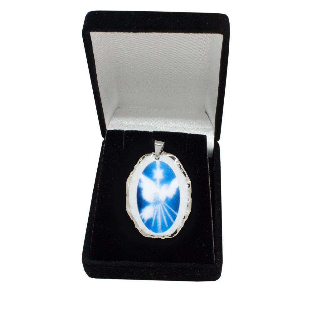 Pingente Medalha Espírito Santo Ouro Branco Pequena