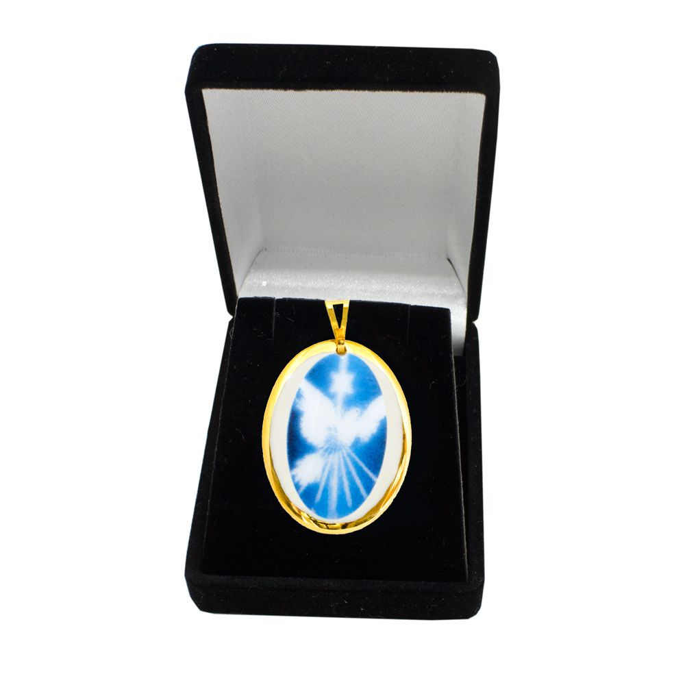 Pingente Medalha Espírito Santo Ouro Pequena