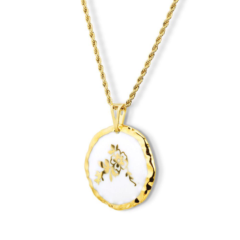 Pingente Medalha Flor Dourada  Borda Pintada à Mão com Ouro 18k